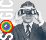 SOGIC logo with Rainbow on O. Man looking through binoculars
