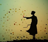 silhouette of person catching leaves