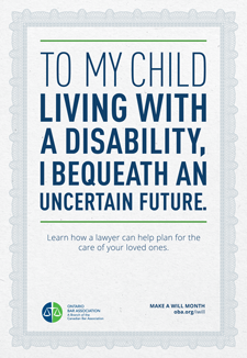To my child living with a disablity, I bequeath and uncerntain future