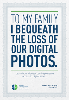 To my family I bequeath the loss of our digital photos