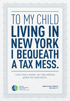 To my child living in new your I bequeath a tax mess